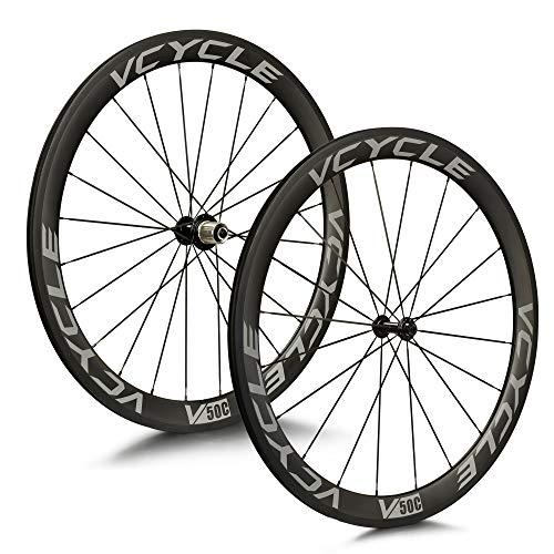 VCYCLE 700C Kohlefaser Rennrad Laufradsatz 50mm Drahtreifen 23mm Breite 8/9/10/11 Speed