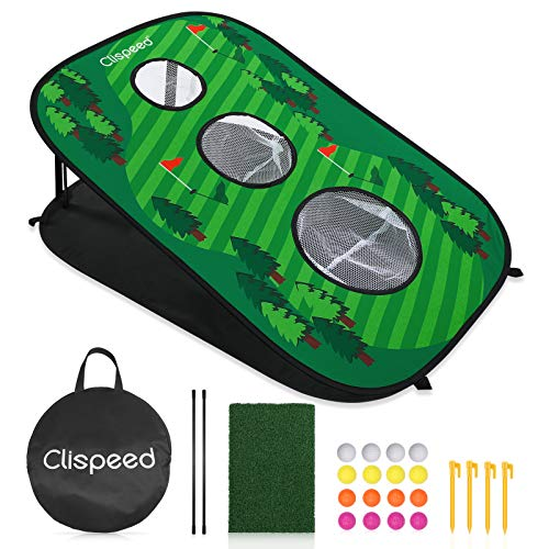 CLISPEED Backyard Golf Cornhole Spiel Set Golfübungsgeräte Pop- Up Golf Schlagnetze