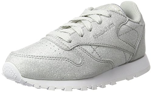 Reebok Jungen Mädchen Classic Leather SYN Sneaker, Silber (Diamond-Silver Metallic/Snow Grey/White), 31 EU
