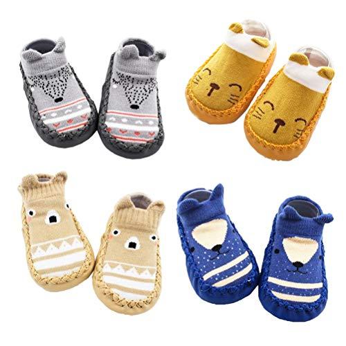 XM-Amigo 4 Paar Baby-Socken-Schuhe, für Jungen und Mädchen, Hausschuhe mit Anti-Rutsch, - Blau Set01 - Größe: 18-24 Monate