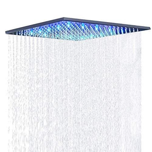 Suguword 40 * 40cm Luxus LED Regendusche Einbau-Duschkopf Deckenbrause Quadrat Überkopfbrause Farbewelchseln nach Temperatur