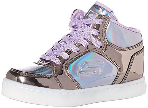 Skechers Mädchen Energy Lights - Shiny Brights Hohe Sneaker, Mehrfarbig (Gun Metal/Purple Gupr), 37 EU