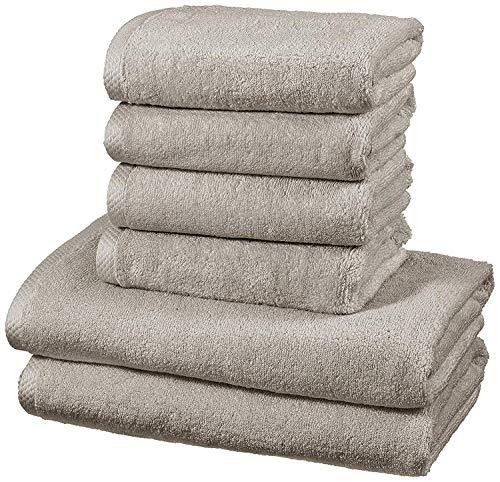 AmazonBasics - Handtuch-Set, schnelltrocknend, 2 Badetücher und 4 Handtücher - Platingrau, 100% Baumwolle