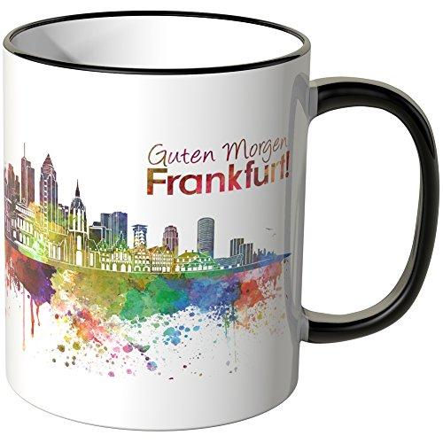 WANDKINGS® Tasse, Schriftzug Guten Morgen Frankfurt! mit Skyline - SCHWARZ