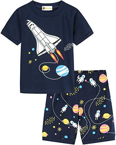 MOLYHUA Jungen Zweiteiliger Schlafanzug Kurzarm Pyjama mit Rakete Motiv Baumwolle Nachtwäsche Kinder 92/98/104/110/116/122