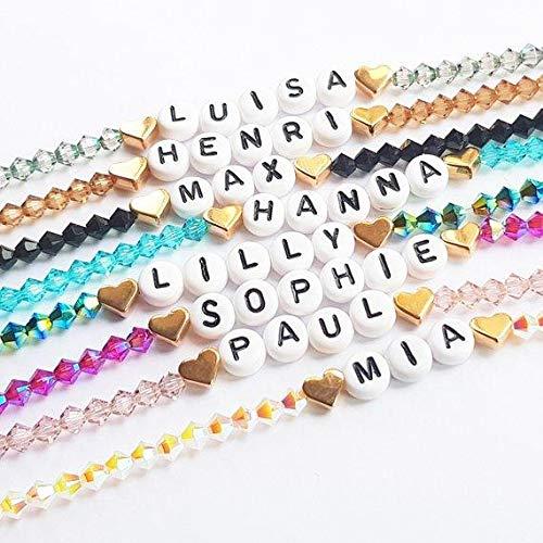 Namensarmband mit Swarovski Crystals - Armband personalisiert/Buchstabenarmband/JGA/Geburtstag/Party