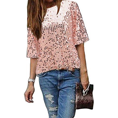 IHRKleid Damen Bluse Frauen Strapless Pailletten beiläufige lose T-Shirt Tops Langarm Weg von der Schulter Hemd Bluse (M, Rosa)