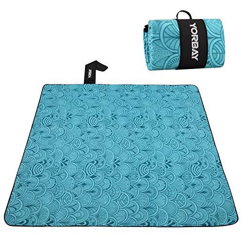 Yorbay Picknickdecke 200 x 200 cm XXL Fleece wasserdicht Decke mit Tragegriff Mehrweg (Blaue Feder)