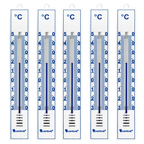 Lantelme Gartenthermometer 5 Stück weiß analog Kunststoff Thermometer Set Innen Außen Garten 4086