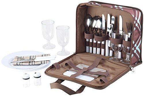 Xcase Picknicktasche: 30-teiliges Picknick-Set für 4 Personen, inkl. Tasche, Teller, Gläser (Plastikgeschirr)