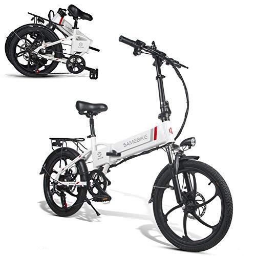 SAMEBIKE 20 Zoll Elektrofahrrad mit 350 W 48 V 10 Ah Lithiumbatterie Faltbares Elektrofahrrad E-Bike für Erwachsene (weiß)