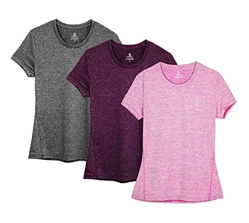 icyzone Sport T-Shirt Damen Kurzarm Laufshirt - Trainingsshirt Fitness Shirt Oberteile Rundhals (XXL, Charcoal/Red Bud/Pink/)