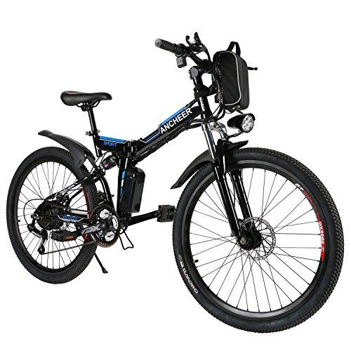 ANCHEER Elektrofahrräder E-Bike faltbares Mountainbike, 36V / 8Ah Lithiumbatterie, 26 '' Elektrofahrrad mit 250W Motor und Professional 21 Gang-Schaltung, Pedelec für Herren und Damen