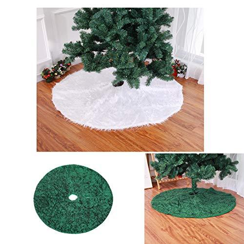 Longzhuo Weihnachtsbaum Rock Christbaumdecke Rund Weiß Weihnachtsbaumdecke Christbaumständer Teppich Decke Weihnachtsbaum Deko