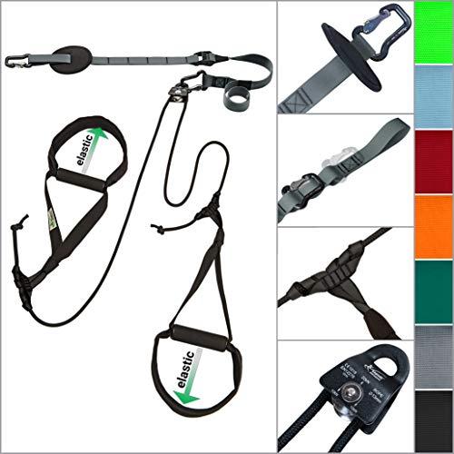 eaglefit Sling-Trainer Allround Elastic, Fitnessgerät, Schlingentrainer inkl. Umlenkrolle, Längenverstellung 90-310 cm, für Profis & Beginner, achat grau