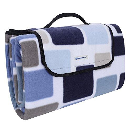 SONGMICS 200 x 200 cm XXL Picknickdecke Fleece wärmeisoliert wasserdicht mit Tragegriff (Quadrate in Blau, Braun und Weiß)
