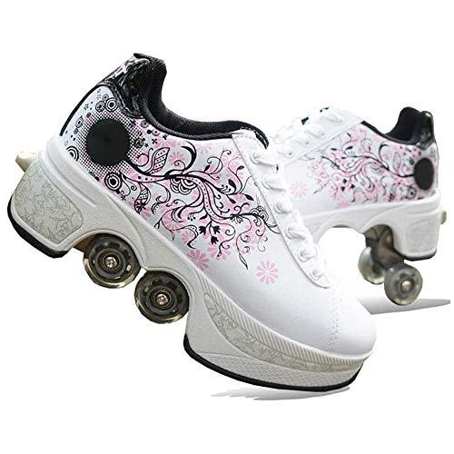 Wedsf Sportschuhe Laufschuhe Sneakers 2 in 1 Mehrzweckschuhe 4 Rollen Skate Shoes Rollen Schuhe Skateboard Sneakers Kinderschuhe,39