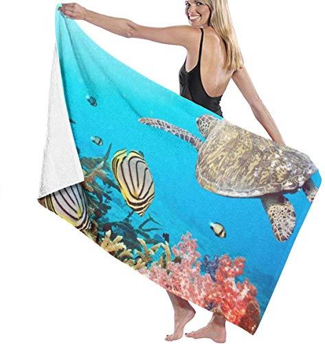 Ches Fishes Turtle Damen Strandtuch Spa-Dusche und Wickeltuch Bademantel – Weiß, Siehe Abbildung, Einheitsgröße