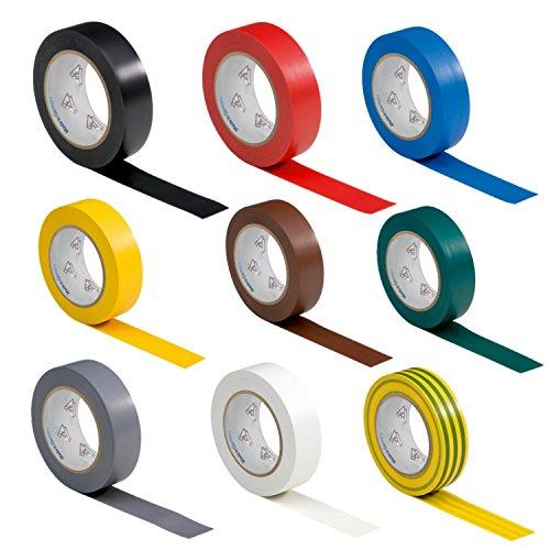 9 Rollen VDE Isolierband Isoband Elektriker Klebeband PVC 15mm x 10m DIN EN 60454-3-1 Set/Sortiment 9 Farben