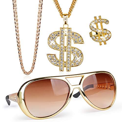 FLOFIA 4-er Set Dollar Kette Dollarzeichen Ring Rockstar Brille Rapper Set Schmuck Gangster 80er Outfit Herren Kostüm Hiphop Schmuck Gold Millionär für Fasching Karneval