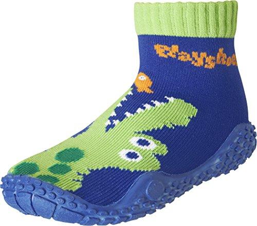 Playshoes Unisex-Kinder Aquasocke Krokodil Badeschuhe, Blau (Marine), 26/27 EU