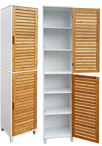 osoltus Hochschrank Badschrank Badeszimmerschrank Weiss/Bambus mit Türen und Magnetverschluß