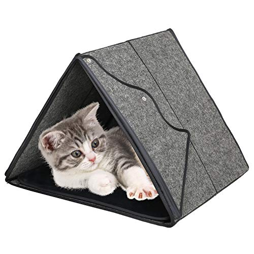 ZHIMEIK Katzenhöhle Pet Nest Katzenbett mit Innerkissen Haustier Schlafsack Katzenhausbett Haustierzeltbetten für Katzen Welpen Kleine Katzenhöhle Katzenzelt (Abwaschbar) L46cm x B40cm x H36cm - Grau