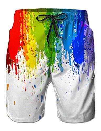 NEWISTAR Herren 3D Jogger Freizeitshorts Sportshorts Kurze Hose Shorts Badehose XXL Rainbow