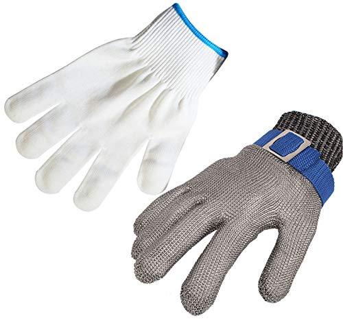 ThreeH Schnittfeste Handschuhe Edelstahl 316L Butternetzhandschuhe aus Draht Schutzhandschuh für Stufe 5 GL09 XL (1 Stück)