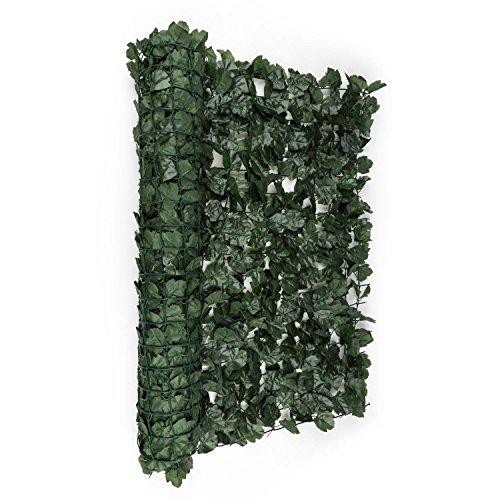 blumfeldt Fency Dark Ivy - Sichtschutz, Windschutz, Lärmschutz, 300x150 cm, Efeublätter, hohe Blickdichte, kunststoffummanteltes Gitternetz, 6x6 cm Maschenweite, grüne Flexbinder, dunkelgrün