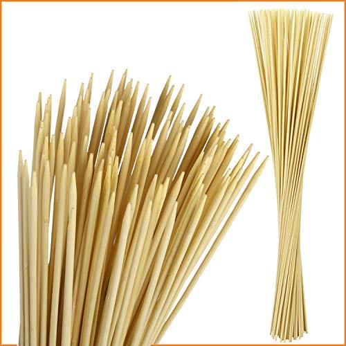 PURE HANG 100 Set Extra Lange Lagerfeuer-Spieße Grillspieße aus Bambus für Stockbrot Marshmallows Bratwurst - Extrem Stabile Bambusstäbe Holzspieße Feuerschale - 90cm x Ø6mm - LFGB geprüft