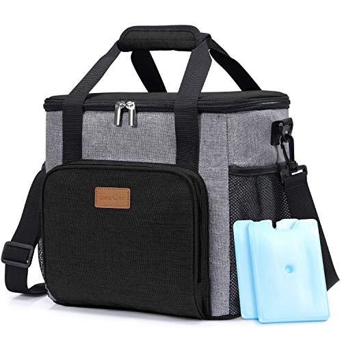 Lifewit Kühltasche Einkaufstasche Picknicktasche Lunchtasche Mittagessen Tasche Thermotasche Kühltasche Isoliertasche für Lebensmitteltransport,schwarz,mit Kühlakkus und Flaschenöffner