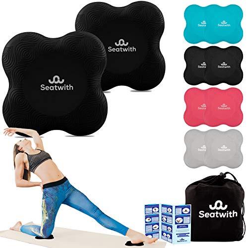Yoga-Knie-Pad 2er Pack Kniekissen mit Transportbeutel+Trainingsanleitung Maximale Entlastung und Unterstützung der Knie Handgelenke und Ellbogen Knieschoner 20 x 20 cm Fitness Pilates SCHWARZ