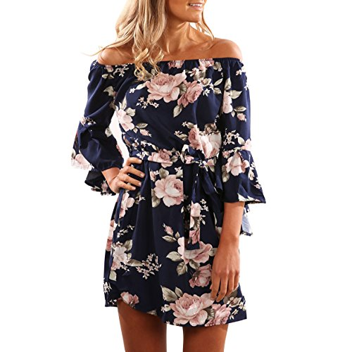 Yieune Sommerkleider Lange Ärmel Schulterkleid Blumenmuster Kurzes Strandkleid(Blau L)