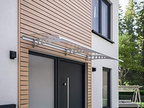 Schulte Pultvordach Style Plus, 200 x 90 cm, 3 mm Polycarbonat Platte Klar, Wandhalterung Edelstahl V2a, Vordach Haustür Überdachung, V1120-20-21