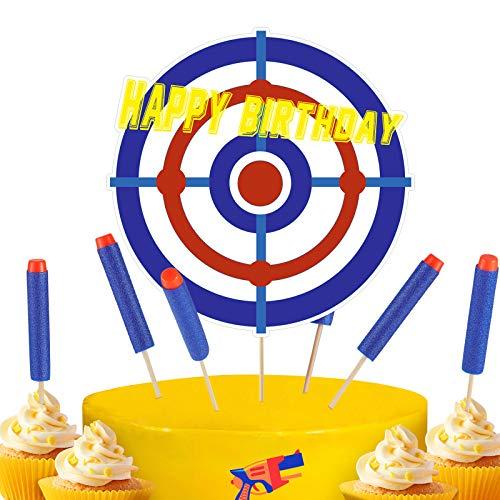 Blulu 13 Stück Happy Birthday Cupcake Toppers Target Kuchen Deckel Kriegstorte Dekorationen für Kinder Geburtstag Party Lieferungen