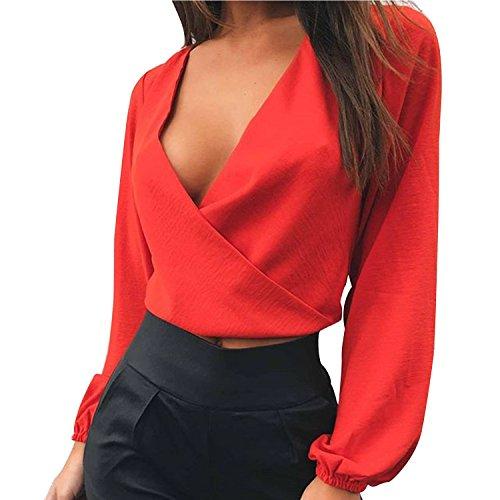 LAEMILIA Damen Crop Top Bluse Rückenfrei Tief V-Ausschnitt Clubwear Tunika mit Schleife am Rücken Abendmode Oberteil Tops Strand Party