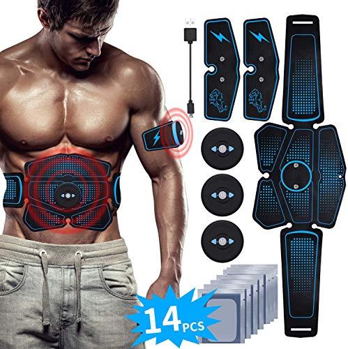 RIRGI EMS Bauchmuskeltrainer USB Wiederaufladbar EMS Trainingsgerät für Arm Bauch Beine Bizeps Trizeps Abs 6 Modi 9 Intensitäten 14 Gratis Gelpads für Muskelaufbau und Fettverbrennung