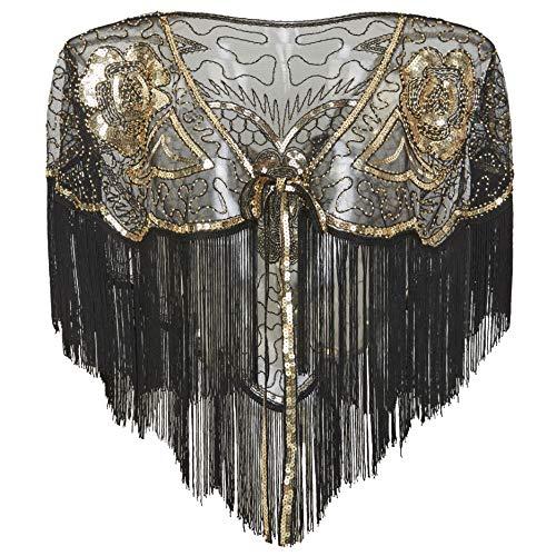 Coucoland 1920s Stola Damen Retro Schal Umschlagtücher Hochzeit Braut Schal Schulter Bedeckung für Abendkleid 20er Jahre Stil Gatsby Kostüm Accessoires (Gold Schwarz)