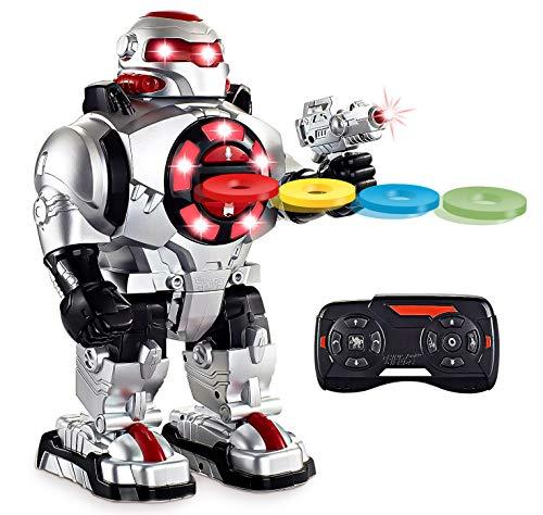 Think Gizmos Sprachgesteuerter RoboShooter Ferngesteuerter Roboter Kinder Spielzeug für Jungen und Mäd-chen - mit Licht und Ton - RC Roboter Feuert Scheiben ab - Tanzt und Spricht -TG542-VR
