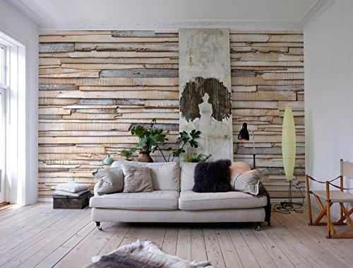 Komar - Fototapete WHITEWASHED WOOD - 368 x 254 cm - Tapete, Wand, Dekoration, Wandbelag, Wandbild, Wanddeko, Holz, Holzwand, Holzoptik - 8-920