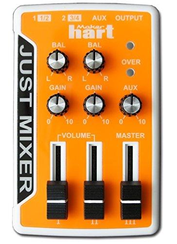 JUST MIXER Audio Mischpult - Batterie-/USB-betriebenes Tragbares Taschen-Audio Mischer mit 3 Stereokanälen (3,5mm) Mit Ein/Aus Schalter (Orange)