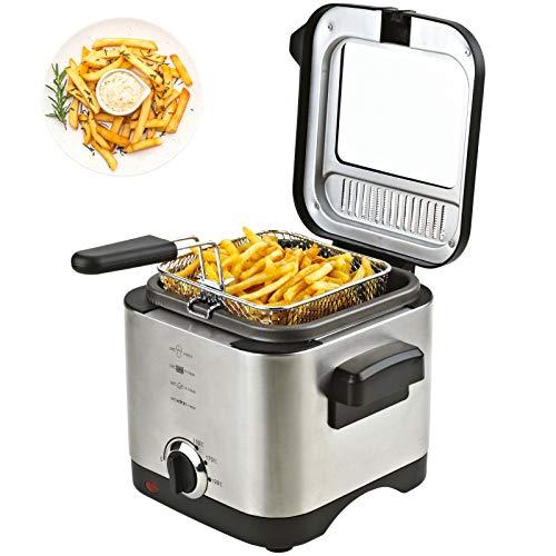 Friteuse 1,5 Liter Fritöse inklusive Filter 900 Watt Fritteuse EDELSTAHL für Pommes, Fischstäbchen kompakt klein vegetarisches und veganes Kochen mit Öl oder Fett