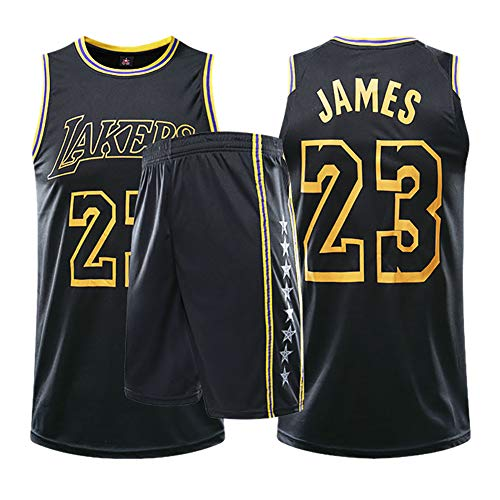 Herren Damen Trikots LeBron James 23 Basketballtrikots Lakers Trikots Basketballtrikot Anzüge atmungsaktiv und schnell trocknend Stoff XXXX-Large Schwarz