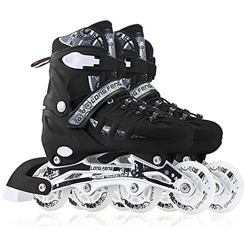 Inline Skates Für Kinder Und Herren Damen, 8 LED-Blinkräder, 31-46 Einstellbare Schuhgröße, ABEC-7 Lager, Doppelt Schuhkopf Kann die Zehen Besser Schützen (schwarz, L 39-42)