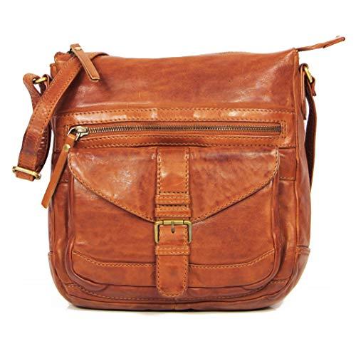 ALMADIH *Abby* Leder Damentasche aus Premium Rindsleder braun Vintage - Ledertasche Umhängetasche Schultertasche Handtasche Freizeittasche City Bag Knautschleder gewaschenes Leder