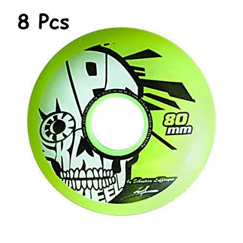 SSCYHT 8 Stück Inline-Skateräder, 85A Asphalt Outdoor Roller Hockey Wheels - Künstlerische PU-Ersatzräder - 72Mm 76Mm 80Mm,76mm