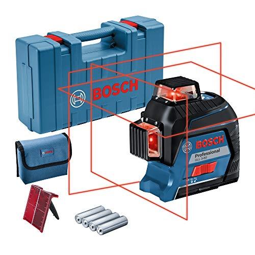 Bosch Professional Linienlaser GLL 3-80 (roter Laser, max. Arbeitsbereich: 30 m, 4x AA Batterie, im Handwerkerkoffer)