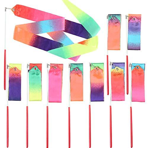 NACTECH 10ST Gymnastikband mit Stab Tanzband Kinder Rhythmikband Turnbänder Regenbogen Schwungband 205CM Wirbelband Rhythmische Sportgymnastik Band für Kinder Mädchen Zirkus