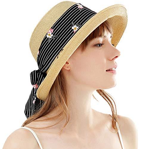 SIGGI Damen Sonnenhut Faltbarer Sommerhut mit Kinnriemen breite Krempe